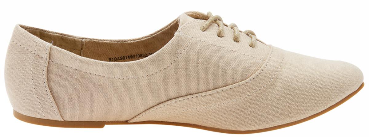 Полуботинки женские oodji, цвет: темно-бежевый. 91OAS014W/19832/3500N. Размер 36 (35)91OAS014W/19832/3500NСтильные полуботинки oodji изготовлены из качественного текстиля. Удобная шнуровка надежно зафиксирует обувь на ноге. Мягкая стелька обеспечивает комфорт при носке.