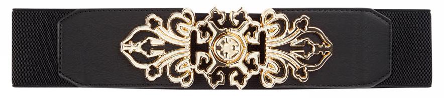 Пояс женский oodji, цвет: черный, золотистый. 45102219/26426/2993O. Размер 7045102219/26426/2993OШирокий стрейтч-пояс с фигурной пряжкой. Пояс из эластичного полотна плотно прилегает к фигуре. Украшает модель крупная металлическая пряжка с оригинальным орнаментом. Короткие фигурные концы пояса укреплены накладками из искусственной кожи со скошенными уголками. Край отстрочен. Эффектный стрейтчевый пояс подходит для ношения с одеждой в романтическом стиле и великолепно дополнит повседневные и вечерние наряды: пышные юбки-пачки, расклешенные юбки, трикотажные и шифоновые платья. Такой пояс гармонично сочетается с вещами из тонких тканей, которые легко драпируются или оформлены складками. Прекрасный комплект получится с туникой или платьем-рубашкой. Стильный пояс подчеркнет линию талии и станет главным украшением вашего образа.