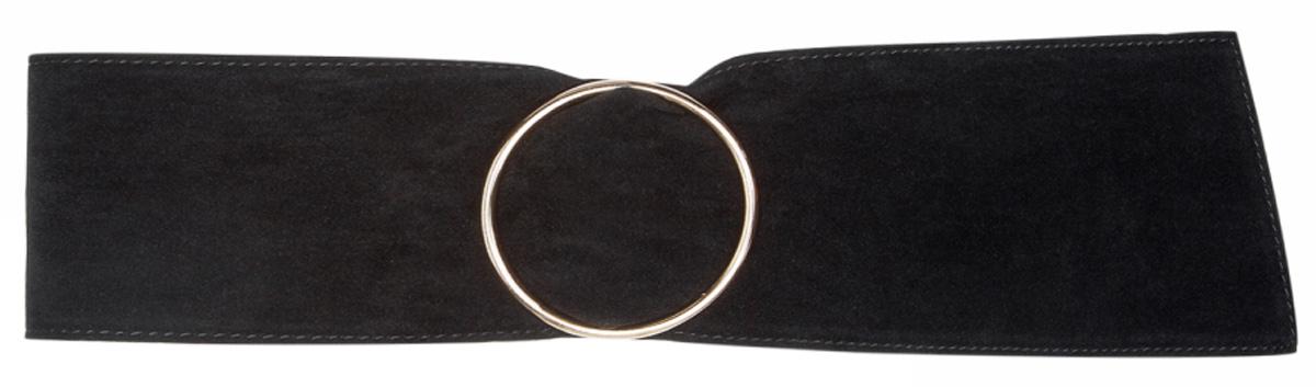 Ремень женский oodji, цвет: черный. 45100100/19836/2900N. Размер 8545100100/19836/2900NШирокий ремень выполнен из искусственной замши и дополнен металлической пряжкой.