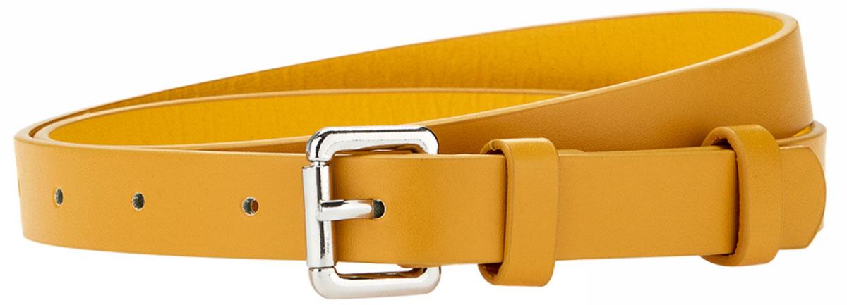 Ремень женский oodji, цвет: горчичный. 45100879-1B/18466/5700N. Размер 10545100879-1B/18466/5700NРемень с открытой закругленной пряжкой и одной шлевкой. Длину можно регулировать благодаря шести аккуратным отверстиям. Этот фактурный ремень можно надеть с брюками, платьем или юбкой. Кроме того, он прекрасно подходит к джинсам с низкой посадкой. Узкий ремень пригодится вам в офисных и уличных нарядах. Требование сочетать в комплекте обувь и ремень одной расцветки уже не актуально. Вы можете смело экспериментировать, создавая запоминающиеся луки.