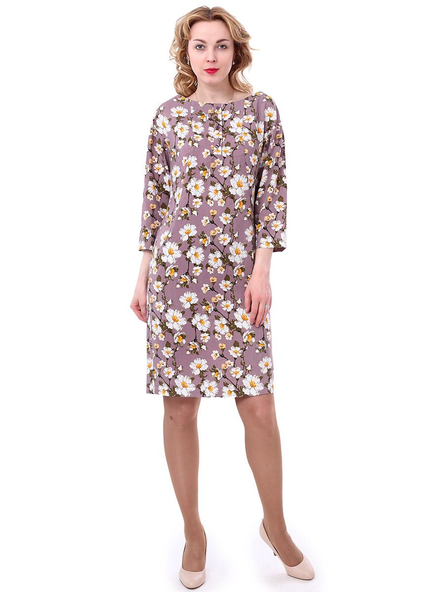 Платье женское F5, цвет: фуксия, коричневый, белый. 171003_13842. Размер M (46)171003_13842, Rayon, apple flowersЖенское платье F5 выполнено из вискозы и оформлено принтом с изображением цветов. Платье с круглым вырезом горловины и длинными рукавами. Застегивается модель на три пуговицы, расположенные спереди.