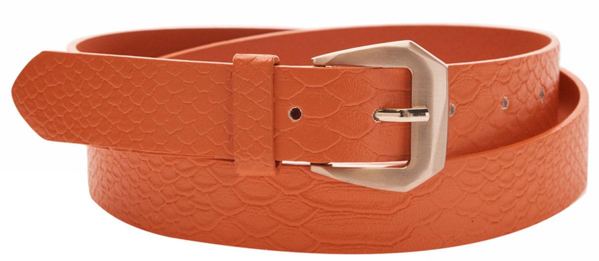 Ремень женский oodji, цвет: оранжевый. 45100018/18303/5500N. Размер 10045100018/18303/5500NРемень из искусственной кожи с золотистой пряжкой