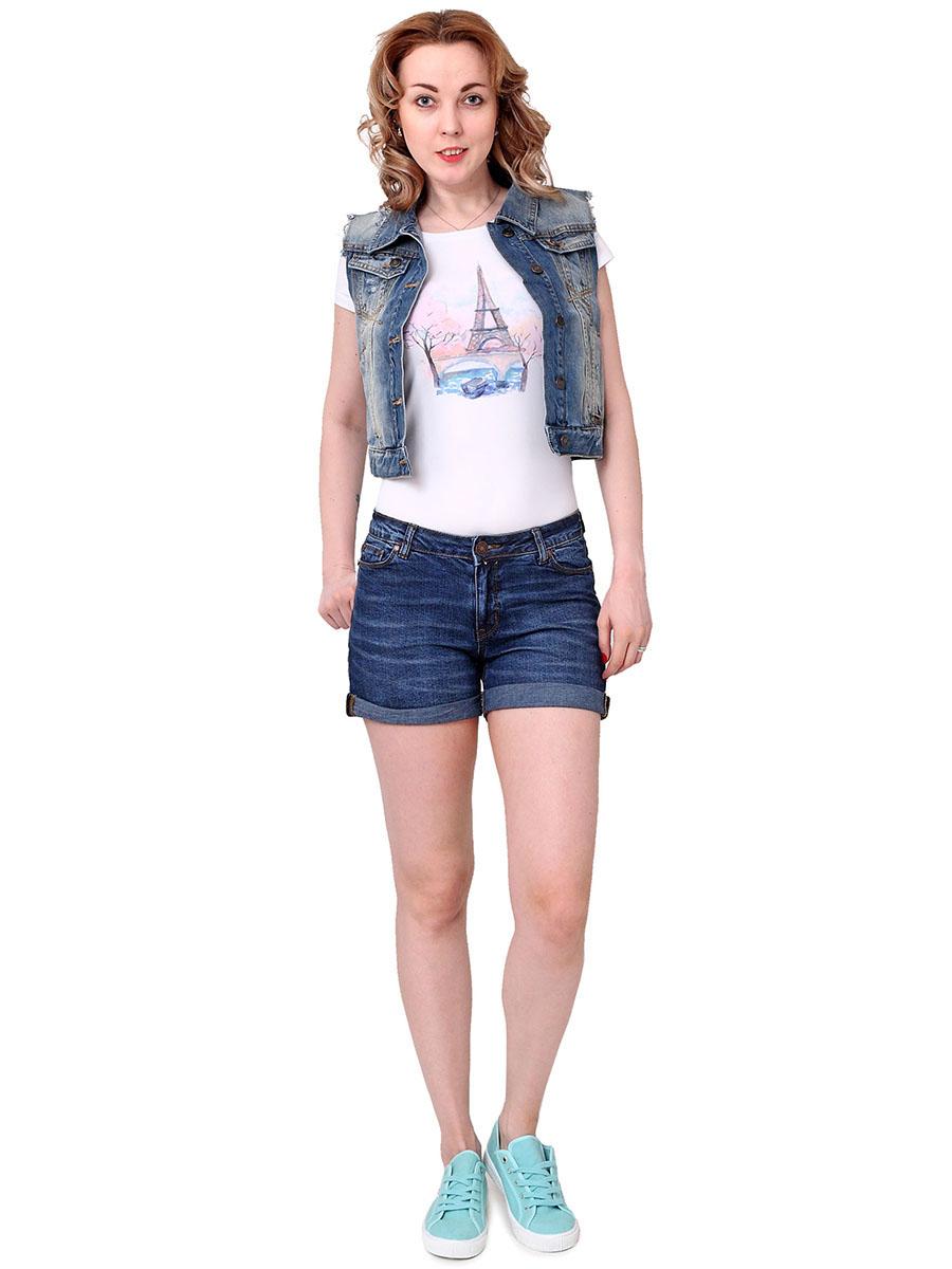 Шорты женские F5, цвет: синий. 174002_18240. Размер 27 (42/44)174002_18240, Blue denim str., w.mediumЖенские джинсовые шорты F5 изготовлены из хлопка с небольшим добавлением эластана. Шорты застегиваются на поясе на металлическую пуговицу и имеют ширинку на застежке-молнии, а также шлевки для ремня. Спереди расположены два втачных кармана и один маленький накладной, а сзади - два накладных кармана. Модель дополнена декоративными отворотами. Оформлены шорты эффектом потертости и перманентными складками. Изделие украшено прострочкой и металлическими клепками.