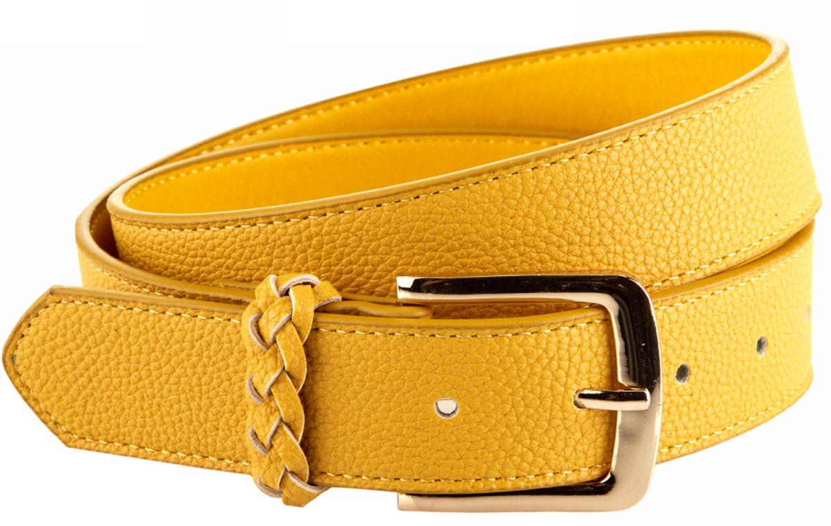 Ремень женский oodji, цвет: желтый. 45100054/32793/3501N. Размер 11045100054/32793/3501NРемень из искусственной кожи