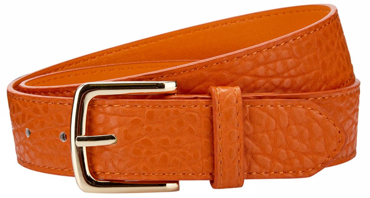 Ремень женский oodji, цвет: темно-оранжевый . 45100948B/32793/5900N. Размер 10545100948B/32793/5900NРемень из искусственной кожи под рептилию