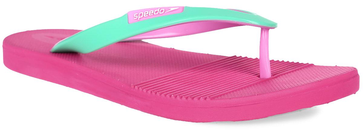 Сланцы женские Speedo Saturate II Thong, цвет: розовый, бирюзовый. 8-09062B550-B550. Размер 4 (37)8-09062B550-B550Женские сланцы Saturate II Thong от Speedo выполнены из термополиуретана. Ремешки с перемычкой, декорированные логотипом бренда, фиксируют изделие на ноге. Подошва выполнена из материала ЭВА. Рельефная поверхность верхней части подошвы комфортна при движении.Основание подошвы оснащено рифлением.