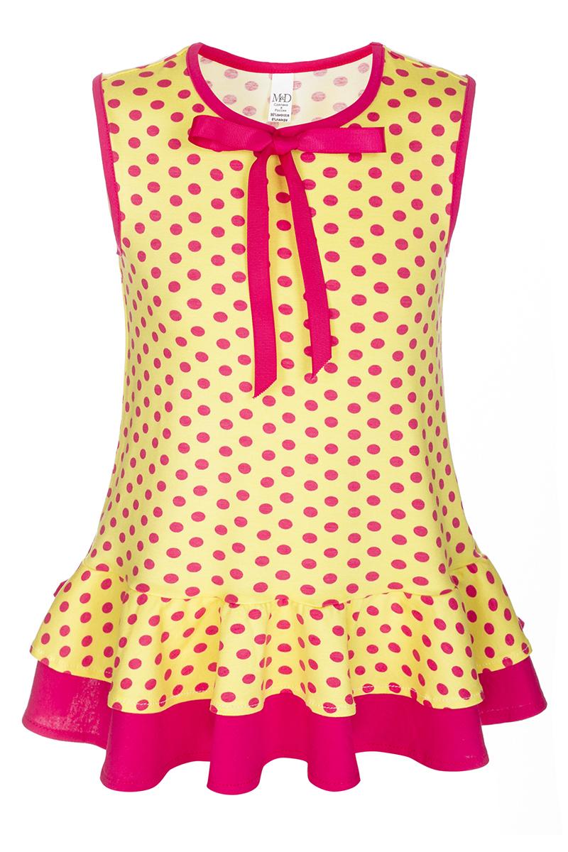Туника для девочки M&D, цвет: желтый, розовый. SJT27072M25. Размер 110SJT27072M25Оригинальная туника для девочки M&D идеально подойдет юной моднице. Изготовленная из мягкой вискозы с небольшим добавлением лайкры, она очень приятная к телу, не сковывает движения ребенка и позволяет коже дышать, обеспечивая комфорт. Туника без рукавов, с круглым вырезом горловины украшена принтом в горошек и милым бантиком. Стильный дизайн и расцветка делают эту тунику модным предметом детской одежды. В ней ребенок всегда будет в центре внимания!