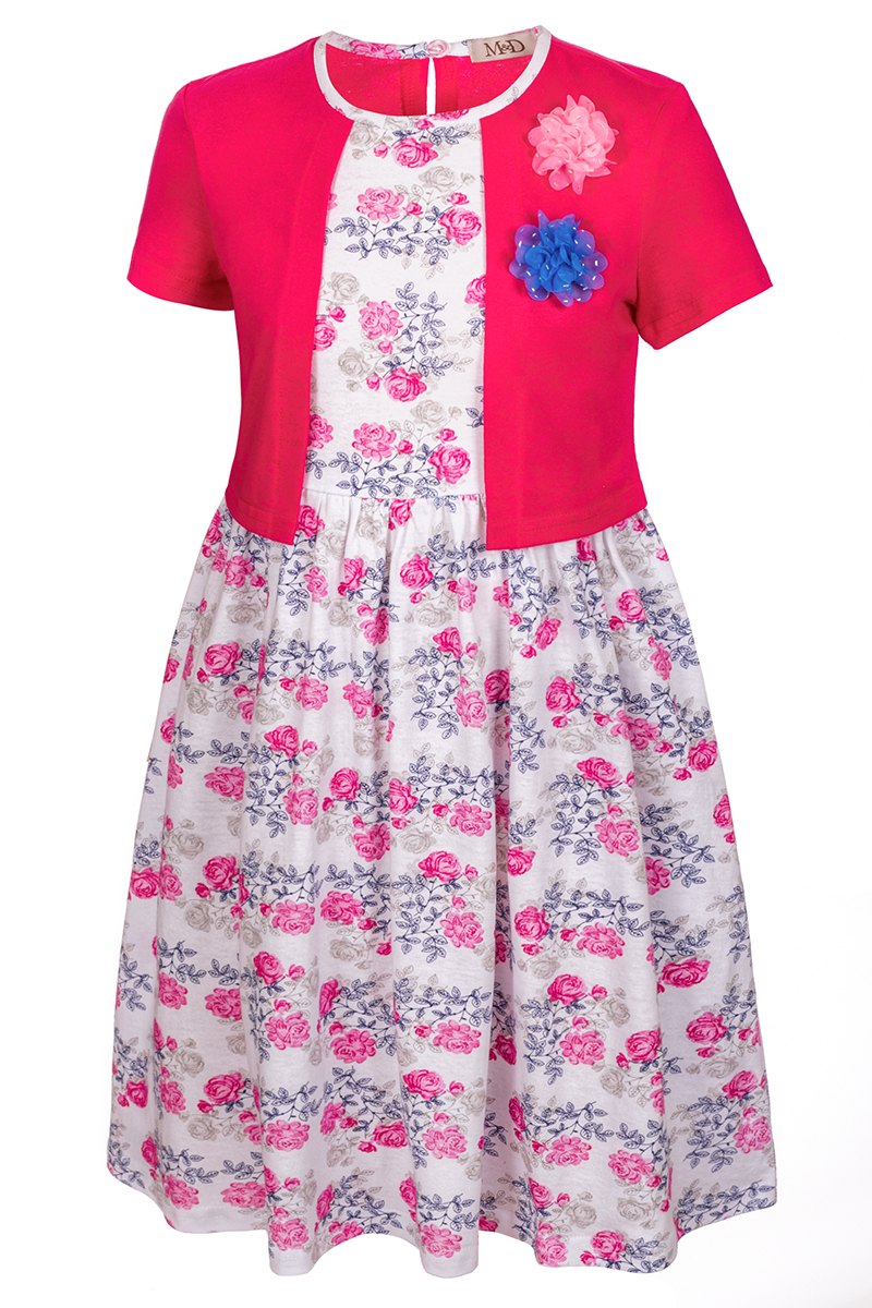 Платье для девочки M&D, цвет: фуксия, белый, розовый. SJD27060M91. Размер 128SJD27060M91Платье для девочки от бренда M&D приведет в восторг вашу юную модницу! Платье изготовлено из натурального хлопка. На спинке изделие застегивается на пуговку. Модель с круглым вырезом горловины, отрезной талией и короткими рукавами оформлена нежным цветочным принтом и имитацией надетого поверх платья кардигана контрастного цвета. Пышная юбочка придает платью воздушности и очарования. На груди - декоративные элементы в виде текстильных розочек. В таком платье ваша малышка всегда будет в центре внимания.