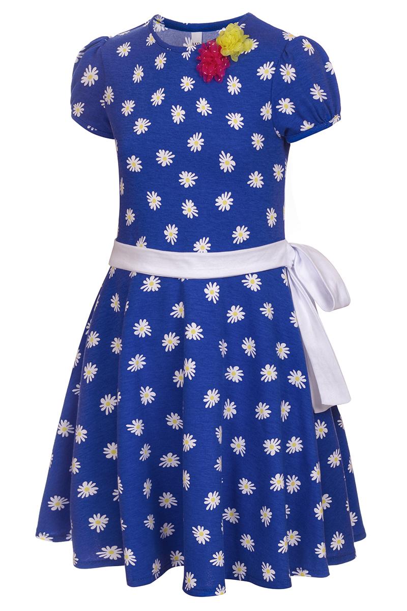 Платье для девочки M&D, цвет: синий, белый, желтый. SJD27062M09. Размер 104SJD27062M09Платье для девочки от бренда M&D приведет в восторг вашу юную модницу! Платье изготовлено из натурального хлопка. Модель с круглым вырезом горловины, отрезной талией и короткими рукавами-фонариками оформлена принтом контрастного цвета. Расклешенная юбочка придает платью воздушности и очарования. Талию подчеркивает широкий трикотажный поясок. В таком платье ваша малышка всегда будет в центре внимания.
