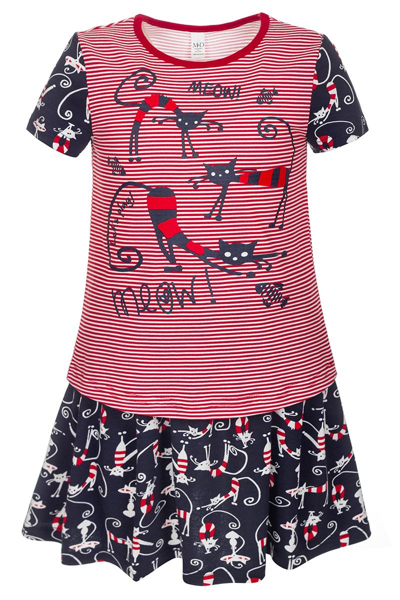 Комплект для девочки M&D: футболка, юбка, цвет: красный, черный. SJI27066M23. Размер 122SJI27066M23Стильный комплект для девочки от бренда M&D, состоящий из футболки и юбки, выполнен из мягкого хлопка. Футболка с круглым вырезом горловины и короткими рукавами оформлена полосатым принтом и изображениями кошек. Расклешенная юбочка с эластичной резинкой в поясе прекрасно дополняет комплект. В таком наряде ваша малышка всегда будет в центре внимания!