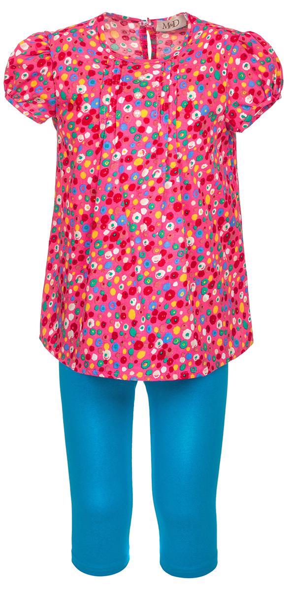 Комплект для девочки M&D: блузка, бриджи, цвет: ярко-розовый, синий. SWI27051M22. Размер 122SWI27051M22Комплект одежды для девочки M&D состоит из блузки и бридж. Одежда выполнена из 100% хлопка, материал очень приятный к телу, хорошо пропускает воздух. Блузка с круглым вырезом горловины и короткими рукавами фонариками оформлена оригинальным принтом. На спинке изделие застегивается на пуговку. На груди блузка оформлена декоративными складками. Бриджи на талии имеют мягкую резинку, благодаря чему они не сдавливают животик ребенка и не сползают. В таком комплекте ребенок будет чувствовать себя комфортно и уютно