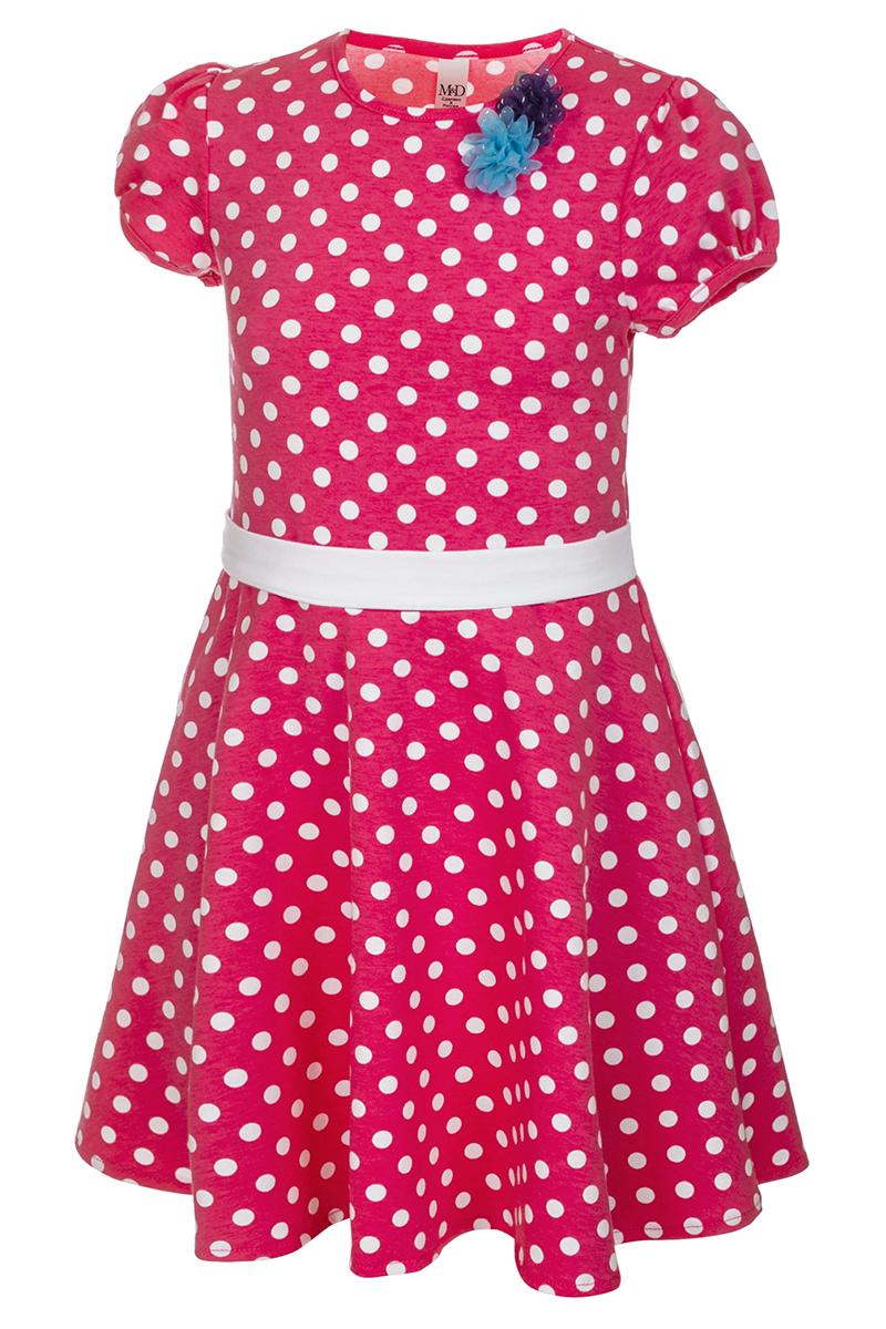 Платье для девочки M&D, цвет: красный, белый. SJD27062M25. Размер 116SJD27062M25Платье для девочки от бренда M&D приведет в восторг вашу юную модницу! Платье изготовлено из натурального хлопка. Модель с круглым вырезом горловины, отрезной талией и короткими рукавами-фонариками оформлена принтом контрастного цвета. Расклешенная юбочка придает платью воздушности и очарования. Талию подчеркивает широкий трикотажный поясок. В таком платье ваша малышка всегда будет в центре внимания.