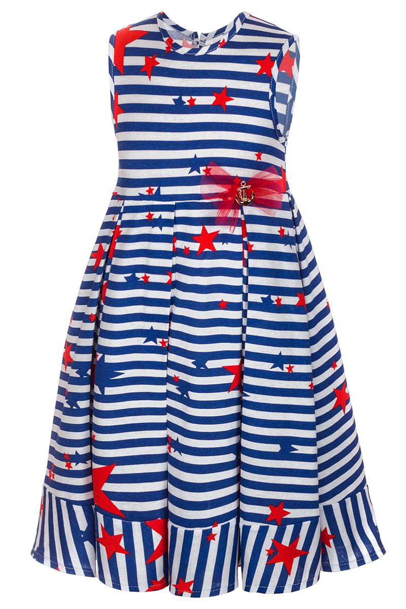 Платье для девочки M&D, цвет: белый, синий, красный. SJD27042M23. Размер 116SJD27042M23Платье для девочки от бренда M&D приведет в восторг вашу юную модницу! Платье изготовлено из натурального хлопка. Модель с круглым вырезом горловины, отрезной талией и без рукавов оформлено полосатым принтом. Изделие застегивается на пуговицу на спинке. Пышная юбочка со складками придает платью воздушности и очарования. На талии - декоративный элемент в виде якоря и бантик. В таком платье ваша малышка всегда будет в центре внимания.