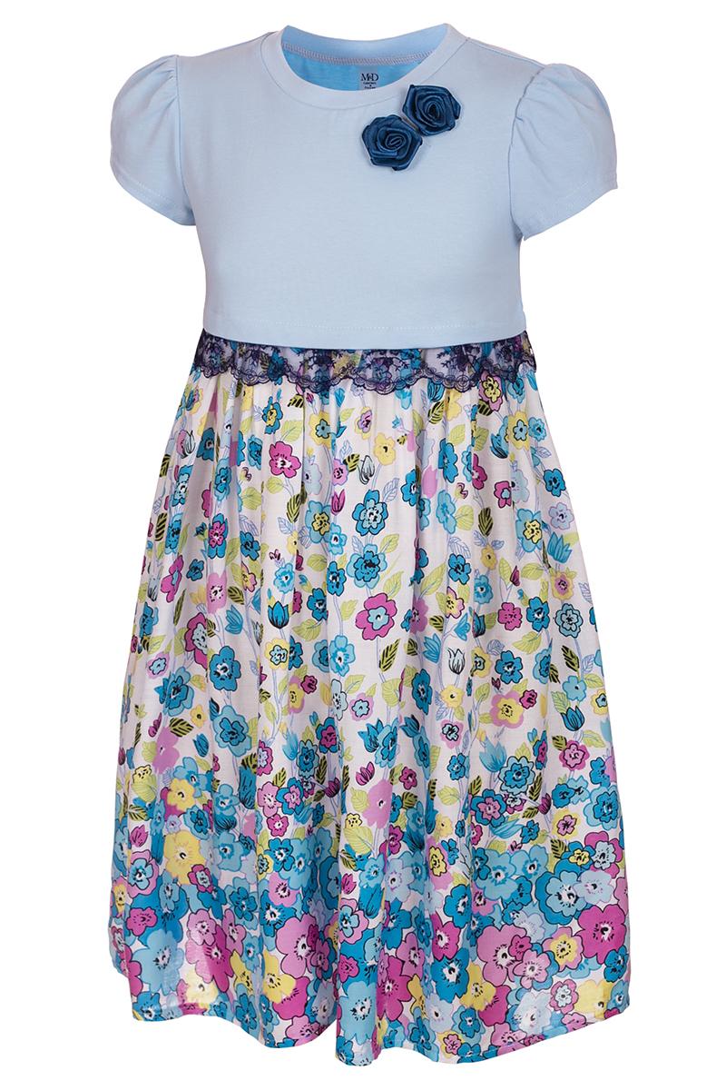 Платье для девочки M&D, цвет: белый, голубой. SWD27046M77. Размер 110SWD27046M77Платье для девочки от бренда M&D приведет в восторг вашу юную модницу! Платье изготовлено из натурального хлопка с отделкой из полиэстера. Модель с круглым вырезом горловины, отрезной талией и короткими рукавами-фонариками. Расклешенная юбочка с цветочным принтом придает платью воздушности и очарования. Талию подчеркивает кружевная тесьма контрастного цвета. В таком платье ваша малышка всегда будет в центре внимания.