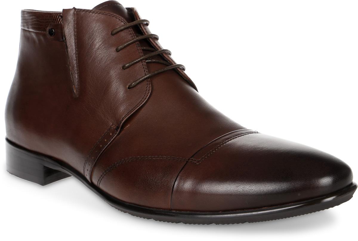 Ботинки мужские Renaissance Elite, цвет: темно-коричневый. 16244Z-2-2F. Размер 4016244Z-2-2FСтильные мужские ботинки Renaissance выполнены из натуральной кожи. Удобная шнуровка надежно фиксирует модель на ноге. Такие ботинки отлично подойдут для тех, кто хочет подчеркнуть свою индивидуальность. В этой обуви вы будете чувствовать себя комфортно и в офисе, и на молодежной вечеринке.