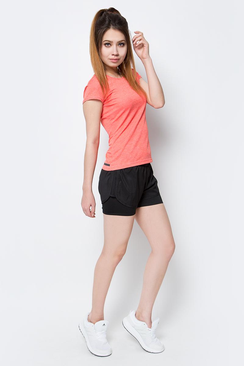 Шорты для бега женские adidas M10 Dual Sho, цвет: черный. AZ2938. Размер L (48/50)AZ2938Шорты женские adidas M10 Dual Sho выполнены из 100% полиэстера. Идеальные беговые шорты для пробежки в теплый солнечный день. Модель выполнена из ткани с технологией climalite, сохраняющей чувство комфорта и сухости.