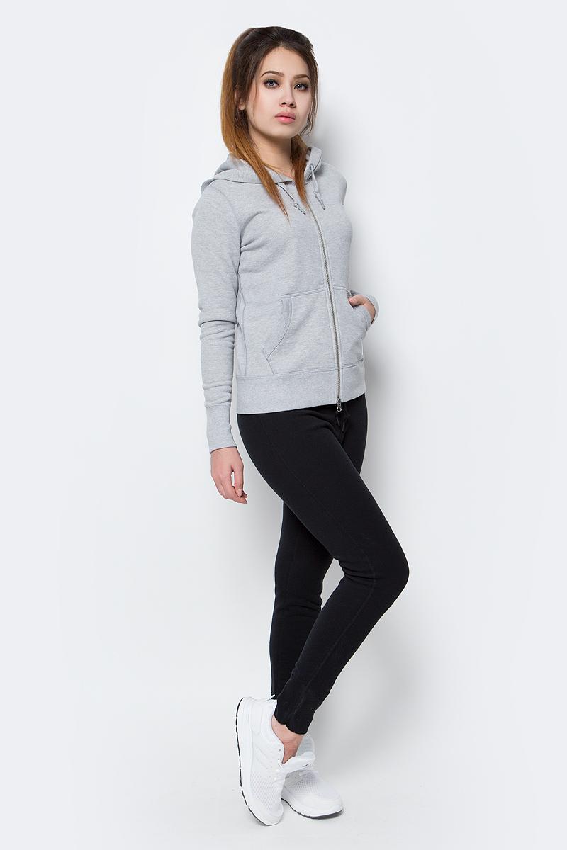 Толстовка женская Converse Sportswear Fz Hoodie, цвет: серый. 10001019022. Размер L (48)10001019022Женская толстовка Converse изготовлена из натурального хлопка. Модель с капюшоном и длинными рукавами застегивается на молнию спереди. Капюшон дополнен шнурками, для регулировки размера. Манжеты рукавов и низ толстовки выполнены из трикотажной резинки. Спереди модель дополнена двумя накладными карманами.