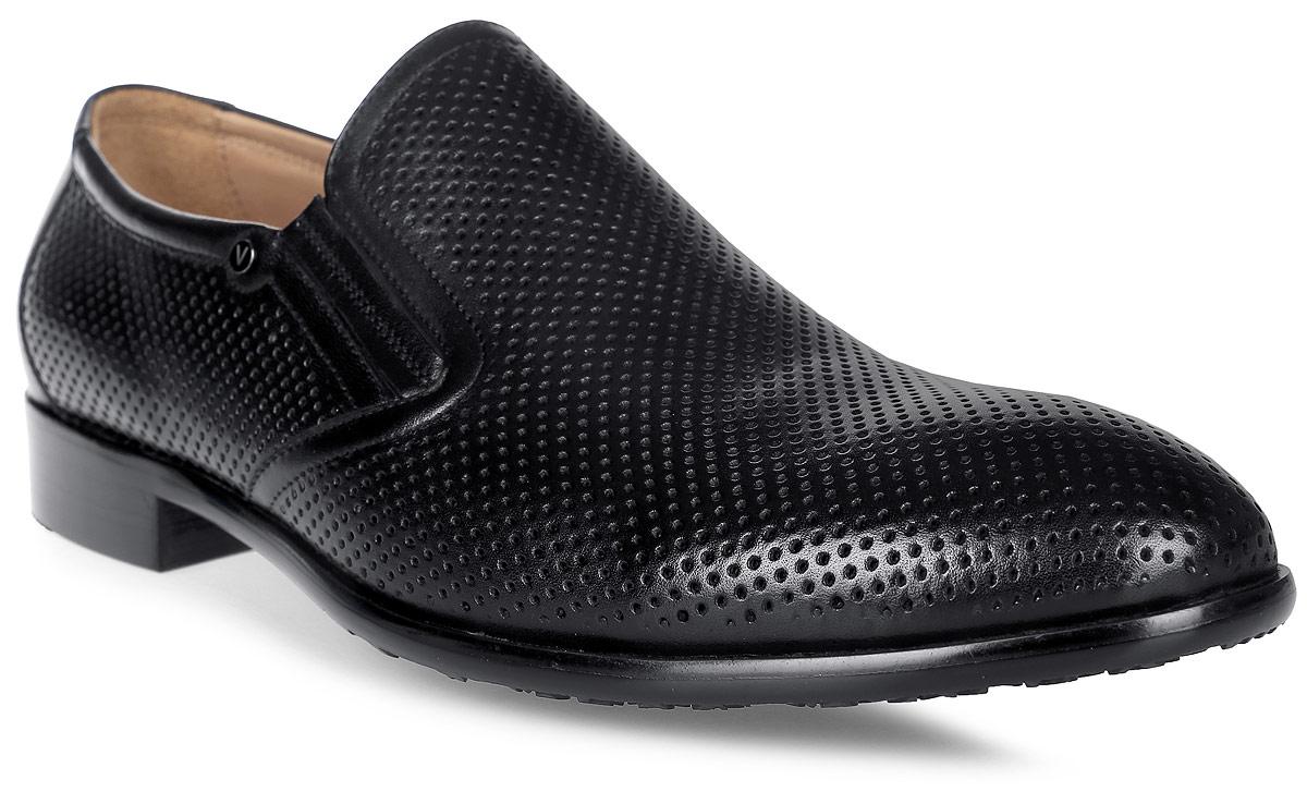 Туфли мужские Vitacci, цвет: черный. M24218. Размер 40M24218Элегантные мужские туфли Vitacci займут достойное место в вашем гардеробе. Модель изготовлена из высококачественной натуральной кожи и оформлена перфорацией. Подкладка и стелька из натуральной кожи позволяют ногам дышать. Низкий каблук и подошва с рифлением гарантируют отличное сцепление с любой поверхностью. Стильные туфли не оставят равнодушным ни одного мужчину.