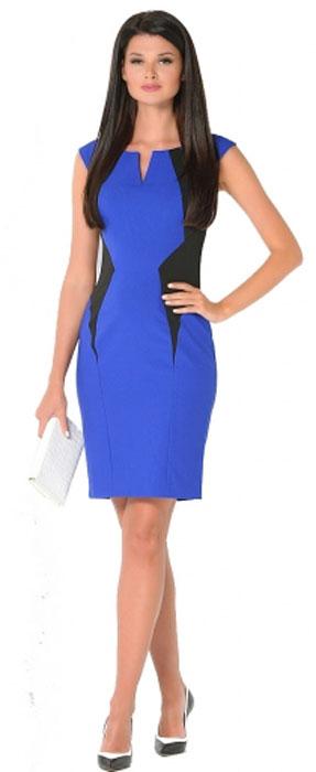Платье Milton, цвет: синий. WD-2422V. Размер 46WD-2422VПлатье прилегающего силуэта, с короткими рукавами-реглан декорировано фигурными подкройными бочками из черной ткани.