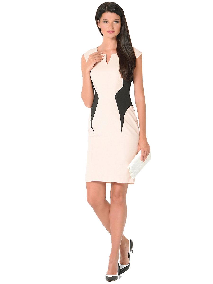 Платье Milton, цвет: бежевый. WD-2422V. Размер 44WD-2422VПлатье прилегающего силуэта, с короткими рукавами-реглан декорировано фигурными подкройными бочками из черной ткани.