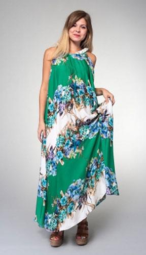 Платье Milton, цвет: зеленый. WD-2439C. Размер L (48)WD-2439CДлинное платье-сарафан свободного силуэта без рукавов выполнено из купонной ткани.