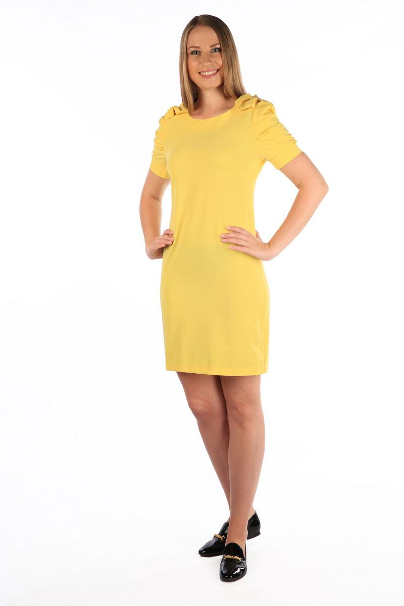 Платье Milton, цвет: желтый. WD-2453F. Размер 48WD-2453FПлатье полуприлегающего силуэта, с втачными рукавами с драпировкой. На плечевых швах - отделочные банты из основной ткани.