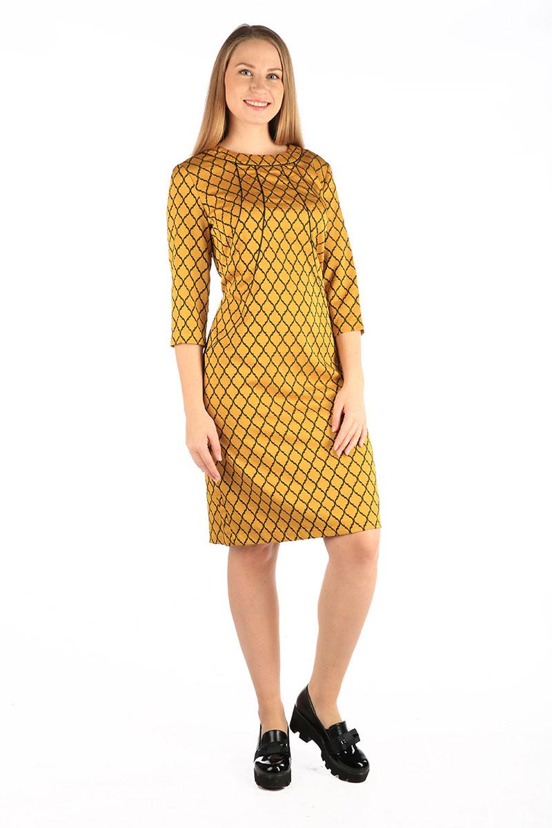 Платье Milton, цвет: желтый. WD-2607F. Размер 52WD-2607FПлатье полуприлегающего силуэта, с втачным рукавом длиной 3/4. По переду от горловины - фигурные подрезы к боковы швам, отделанные кантом. По низу спинки - шлица.