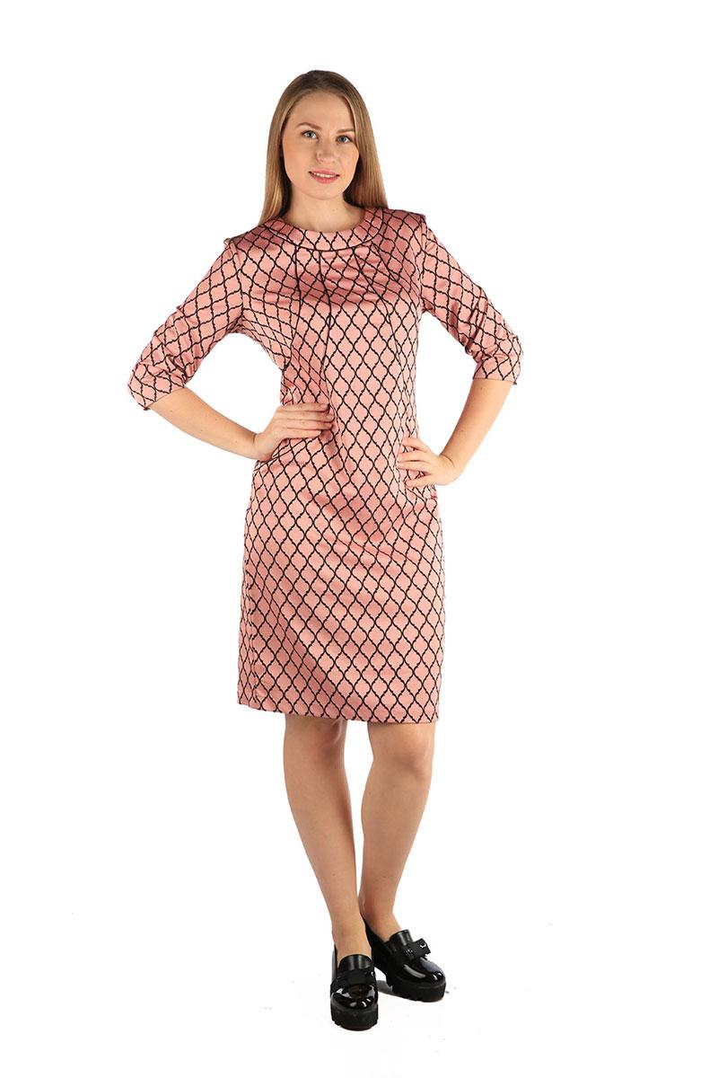 Платье Milton, цвет: розовый. WD-2607F. Размер 54WD-2607FПлатье полуприлегающего силуэта, с втачным рукавом длиной 3/4. По переду от горловины - фигурные подрезы к боковы швам, отделанные кантом. По низу спинки - шлица.