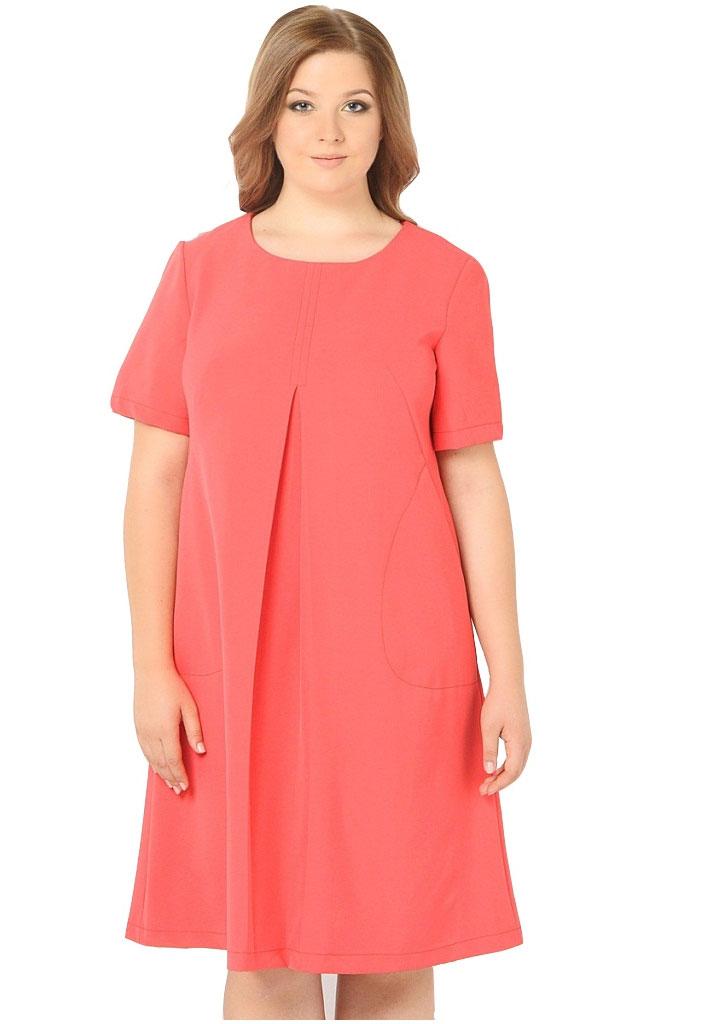 Платье Milton, цвет: красный. WD-2608F. Размер 50WD-2608FПлатье А-образного силуэта с втачными короткими рукавами, по переду от груди вниз - встречная складка, в наклонных вытачках переда обработаны внутренние карманы.