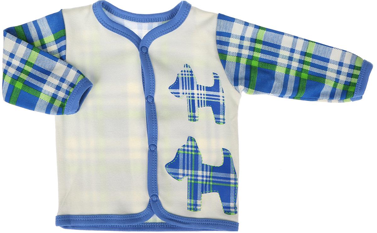 Кофточка для мальчика КотМарКот, цвет: синий. 7216. Размер 867216Кофточка для мальчика КотМарКот выполнена из качественного материала. Модель с длинными рукавами застегивается на кнопки.