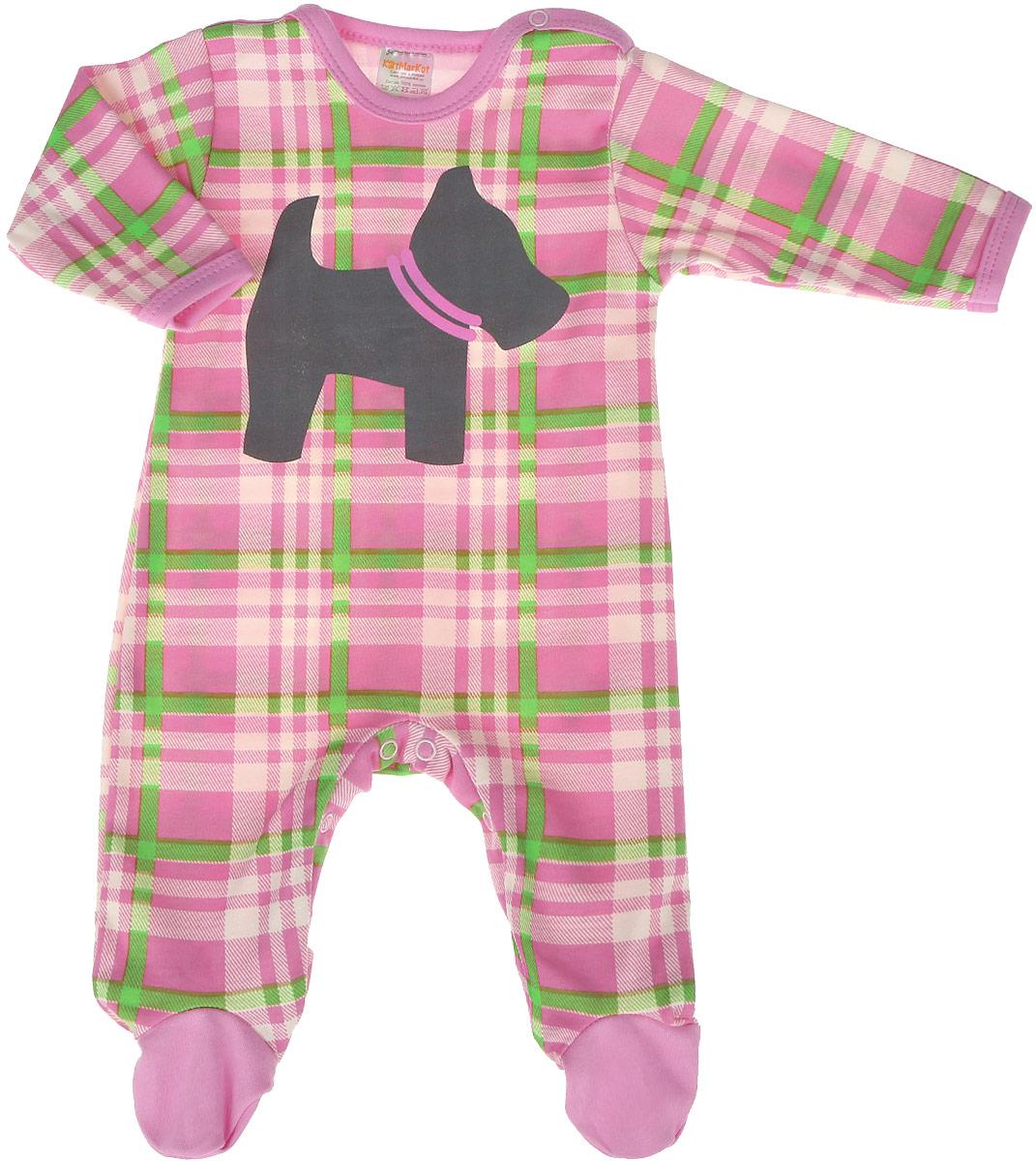 Комбинезон домашний для девочки КотМарКот, цвет: розовый. 6413. Размер 806413Комбинезон домашний для девочки КотМарКот выполнен из качественного материала. Модель с длинными рукавами застегивается на кнопки.