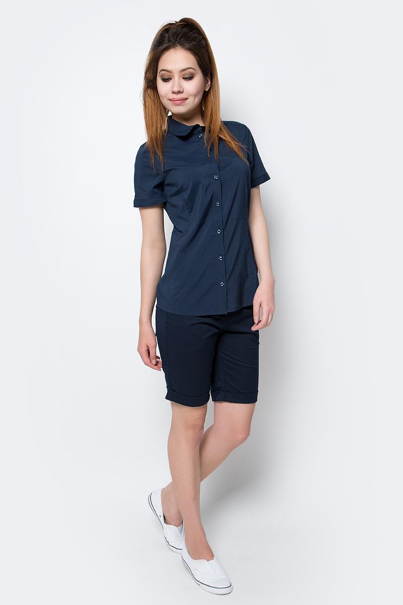 Рубашка женская Jack Wolfskin Sonora Shirt, цвет: темно-синий. 1402381-1910. Размер S (44)1402381-1910Рубашка Sonora Shirt выполнена из 100% полиэстера. Ткань мягкая, легкая, приятная на ощупь и эластичная, она обладает защитой от ультрафиолета (UPF 30+) и быстро сохнет. Рубашка застегивается на пуговицы, имеет отложной воротник и короткие стандартные рукава. Спереди расположен накладной нагрудный карман. Модель выполнена в однотонном дизайне и дополнена логотипом бренда. Такая рубашка идеально подходит для путешествий, отдыха или на каждый день.