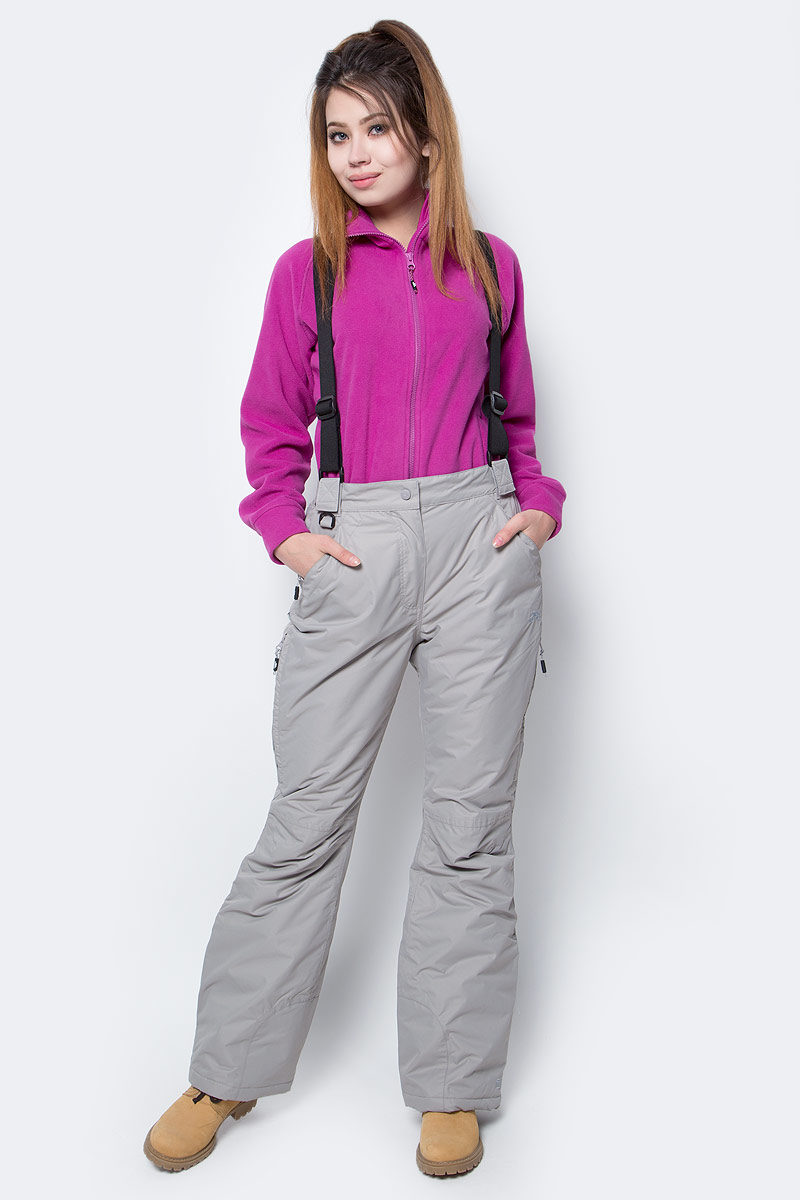 Брюки для сноуборда женские Trespass Lohan, цвет: серый. FABTSKF20002. Размер M (46)FABTSKF20002Утепленные горнолыжные женские брюки Trespass Lohan выполнены из 100% полиэстера. Имеют отстегивающиеся лямки, проклеенные швы, вентиляцию, расстегиваются внизу и имеют влагозащитный чехол для ботинка. Верхний материал непромокаемый (5000), армированный (защита от разрыва). Идеальны для активного зимнего отдыха и катания на горных лыжах.
