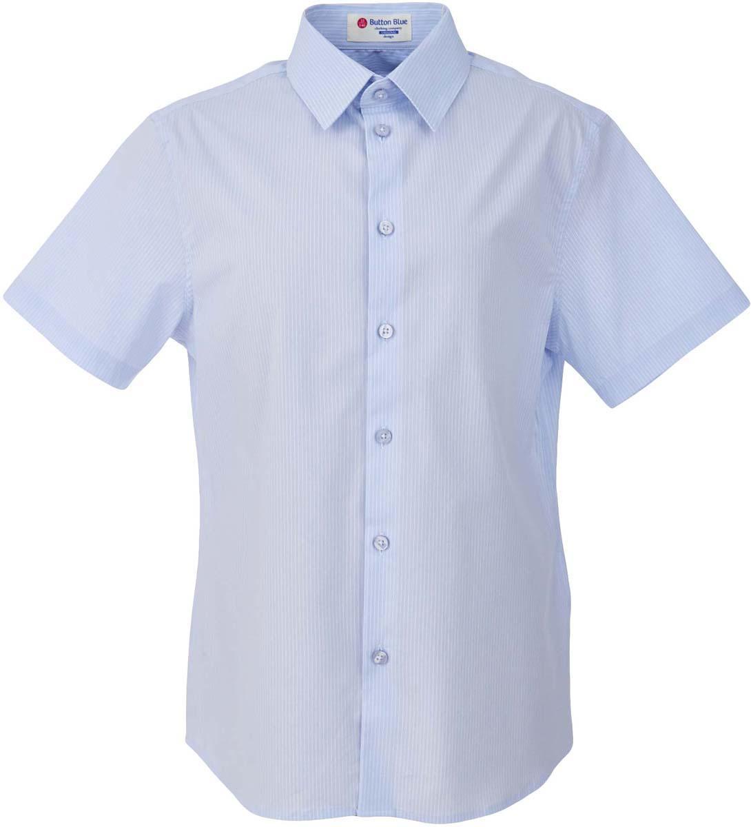 Рубашка для мальчика Button Blue, цвет: голубой. 217BBBS23021805. Размер 146, 11 лет217BBBS23021805Рубашка для мальчика - основа повседневного школьного образа! Школьные рубашки от Button Blue - это качество и комфорт, отличный внешний вид, удобство в уходе, высокая износостойкость. Рубашка с короткими рукавами и отложным воротничком застегивается на пуговицы. Готовясь к школьному сезону, вам стоит купить рубашки в трех-четырех цветах, чтобы разнообразить будни ученика.
