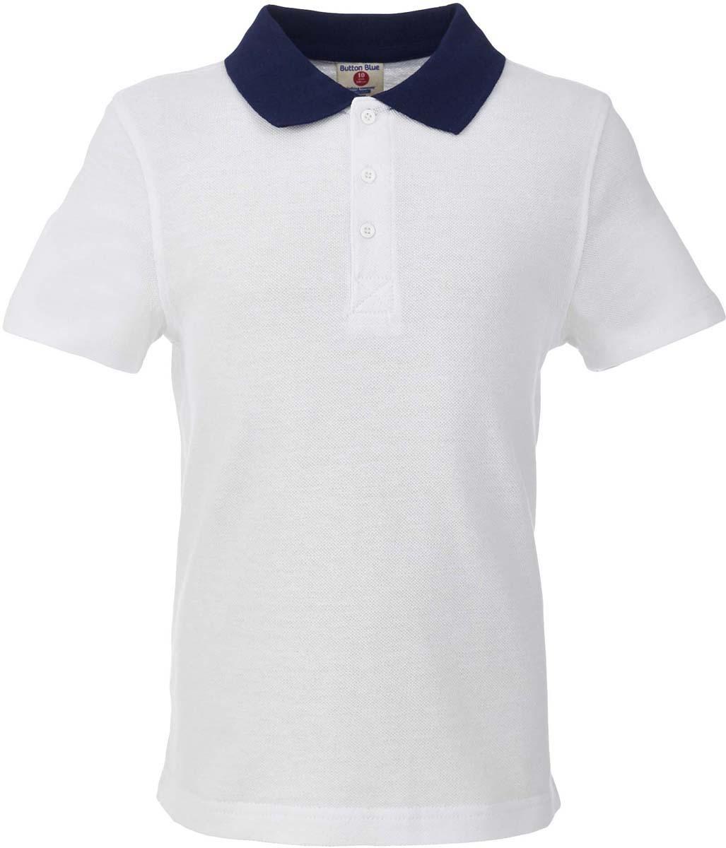 Поло для мальчика Button Blue, цвет: белый. 217BBBS14020200. Размер 122, 7 лет217BBBS14020200Прекрасная альтернатива сорочке - белое поло! По удобству и комфорту, поло для мальчика в школу не менее удобно, чем футболка с коротким рукавом, но поло выглядит строже и наряднее. Небольшой цветовой акцент (воротник и внутренняя планка) придает модели изюминку.