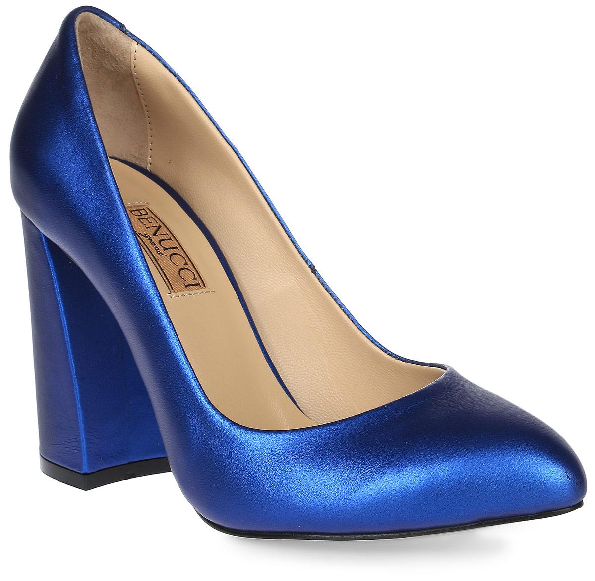 Туфли женские Benucci, цвет: синий. 1202. Размер 381202Женские туфли от Benucci на устойчивом каблуке выполнены из натуральной кожи. Подкладка, изготовленная из натуральной кожи, обладает хорошей влаговпитываемостью и естественной воздухопроницаемостью. Стелька из натуральной кожи гарантирует комфорт и удобство стопам. Подошва из резины обеспечивает хорошую амортизацию и сцепление с любой поверхностью.
