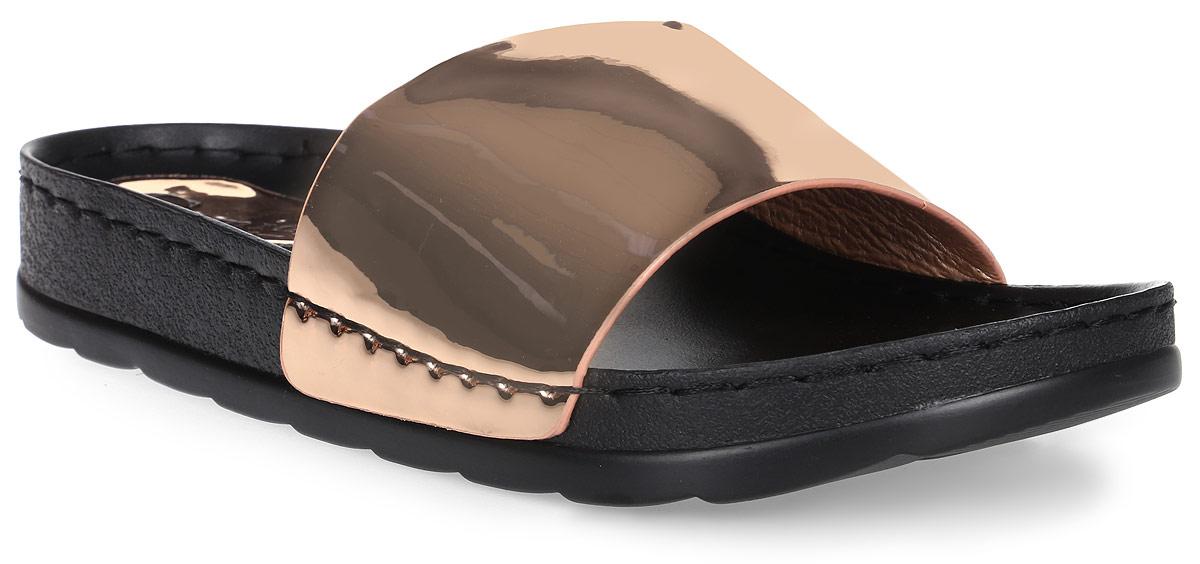 Шлепанцы женские Camidy, цвет: шампань. 212-13. Размер 39212-13Женские шлепанцы от Camidy выполнены из искусственной кожи. Подкладка и стелька, изготовленные из искусственной кожи, гарантируют комфорт и удобство стопам. Подошва из резины обеспечивает хорошую амортизацию и сцепление с любой поверхностью.