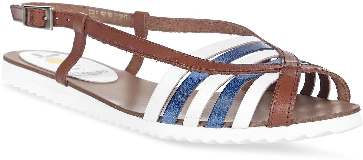 Сандалии женские El Tempo, цвет: коричневый, синий, белый. EBL5_150. Размер 37EBL5_150_CUERO-BLANKO AZULСтильные женские сандалии от El Tempo изготовлены из натуральной кожи и оформлены ремешками контрастных цветов. Ремешок с прямоугольной застежкой-пряжкой отвечает за надежную фиксацию модели на ноге. Длина ремешка регулируется за счет болта. Внутренняя поверхность и стелька выполнены из мягкой натуральной кожи, гарантирующей комфорт при движении. Подошва, изготовленная из ЭВА, дополнена рифлением.