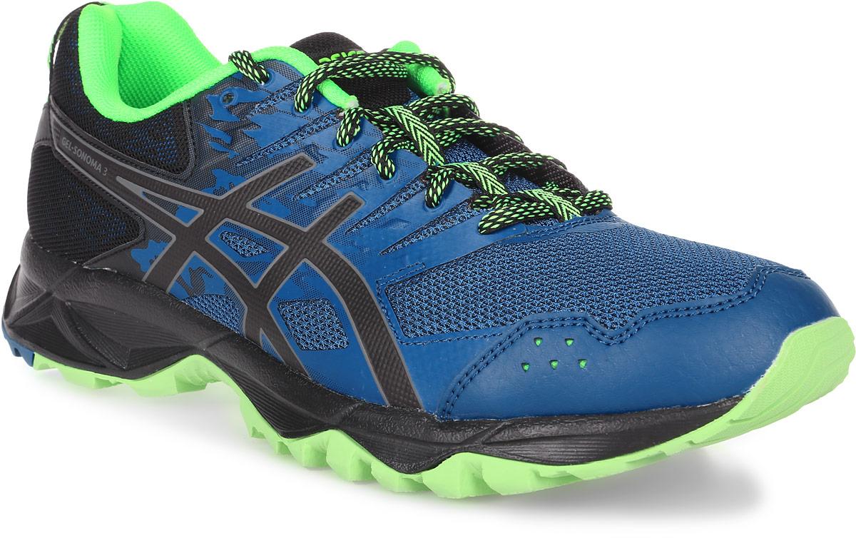 Кроссовки для бега мужские Asics Gel-Sonoma 3, цвет: синий, салатовый. T724N-4990. Размер 10H (43)T724N-4990Третье поколение кроссовок Asics Gel-Sonoma 3 для бега по пересеченной местности. Модель обладает высокой износостойкостью. Благодаря новому дизайну верха кроссовки обеспечивают превосходную посадку и защиту при движении. Они выполнены из лёгкого синтетического и воздухопроницаемого сетчатого материалов. Светоотражающие вставки 3M. Надежная износостойкая резина AHAR+. Asics Гель (специальный вид силикона) в носке снижает нагрузку на пятку, колени и позвоночник спортсмена. Trusstic System - литой элемент под центральной частью подошвы, предотвращающий скручивание стопы.