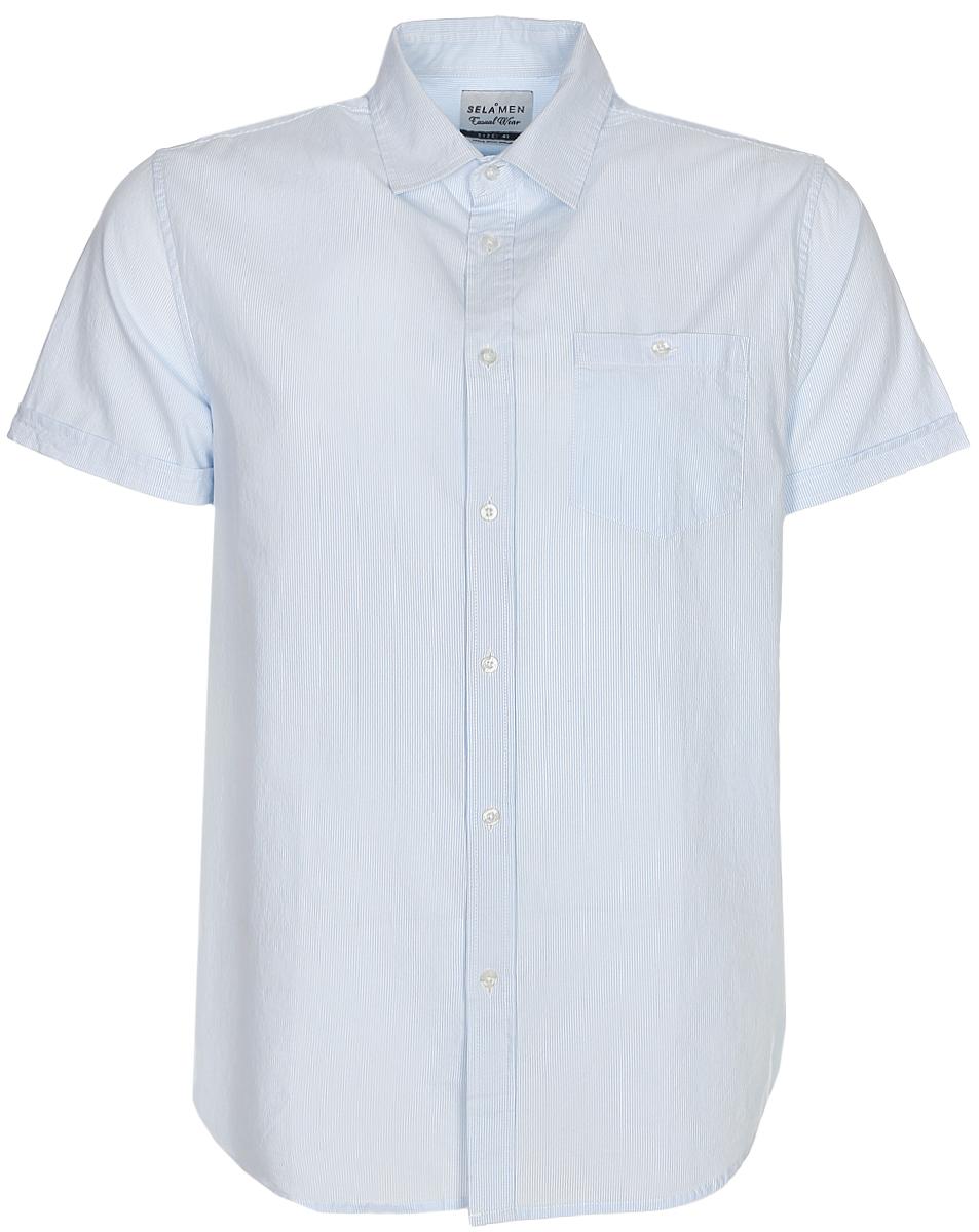 Рубашка мужская Sela, цвет: небесно-голубой. Hs-212/761-7213. Размер 43 (50)Hs-212/761-7213Классическая мужская рубашка с коротким рукавом от Sela выполнена из натурального хлопка в мелкую полоску. Модель прямого кроя с отложным воротничком застегивается на пуговицы и дополнена накладным карманом на пуговице на груди. Рубашка подойдет для офиса, прогулок и дружеских встреч и будет отлично сочетаться с джинсами и брюками.
