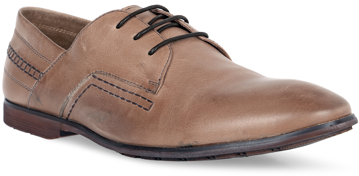 Туфли мужские Dino Ricci, цвет: темно-бежевый. 106-87-52. Размер 41106-87-52Элегантные мужские туфли от Dino Ricci займут достойное место среди вашей коллекции обуви.Модель выполнена из натуральной высококачественной кожи и оформлена декоративной прострочкой. Шнуровка позволяет прочно зафиксировать модель на ноге. Стелька из натуральной кожи оснащена перфорацией, позволяющей вашим ногам дышать. Каблук и подошва с рифлением обеспечивают отличное сцепление с поверхностью.Стильные туфли прекрасно дополнят ваш деловой образ.