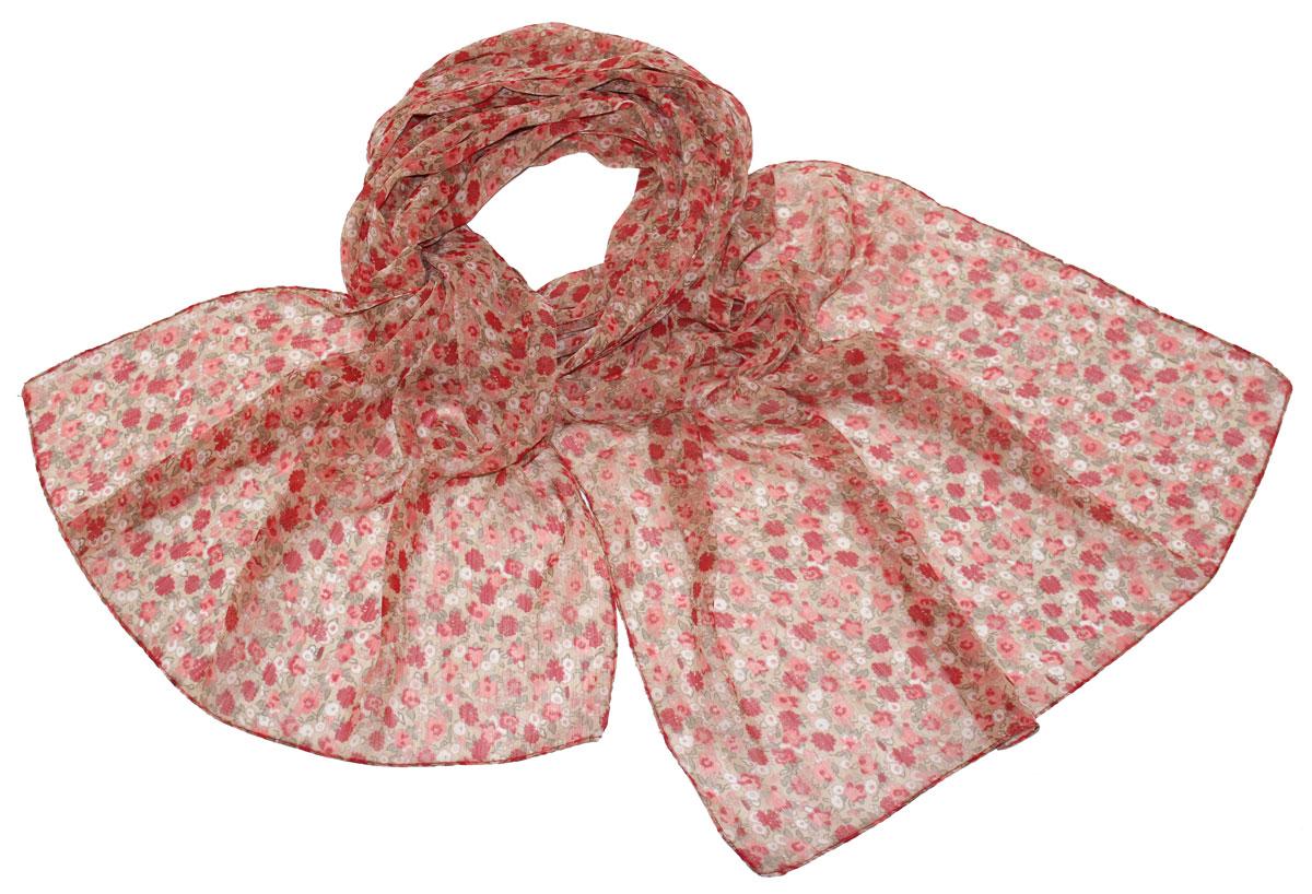Шарф женский Ethnica, цвет: коралловый, бежевый. 262040. Размер 50 см х 170 см262040Стильный шарф привлекательной расцветки изготовлен из 100% вискозы. Он удачно дополнит ваш гардероб и поможет создать новый повседневный образ, добавить в него яркие краски. Отличный вариант для тех, кто стремится к самовыражению и новизне!