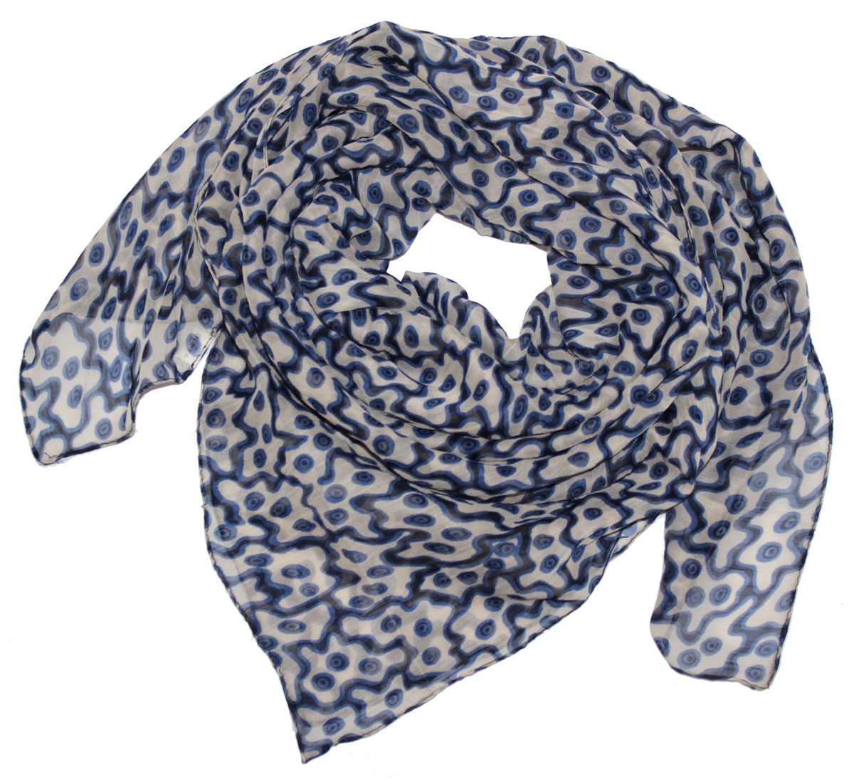 Платок женский Ethnica, цвет: синий, белый, черный. 524040н. Размер 90 см х 90 см524040нСтильный платок привлекательной расцветки изготовлен из 100% вискозы. Он удачно дополнит ваш гардероб и поможет создать новый повседневный образ, добавить в него яркие краски. Отличный вариант для тех, кто стремится к самовыражению и новизне!