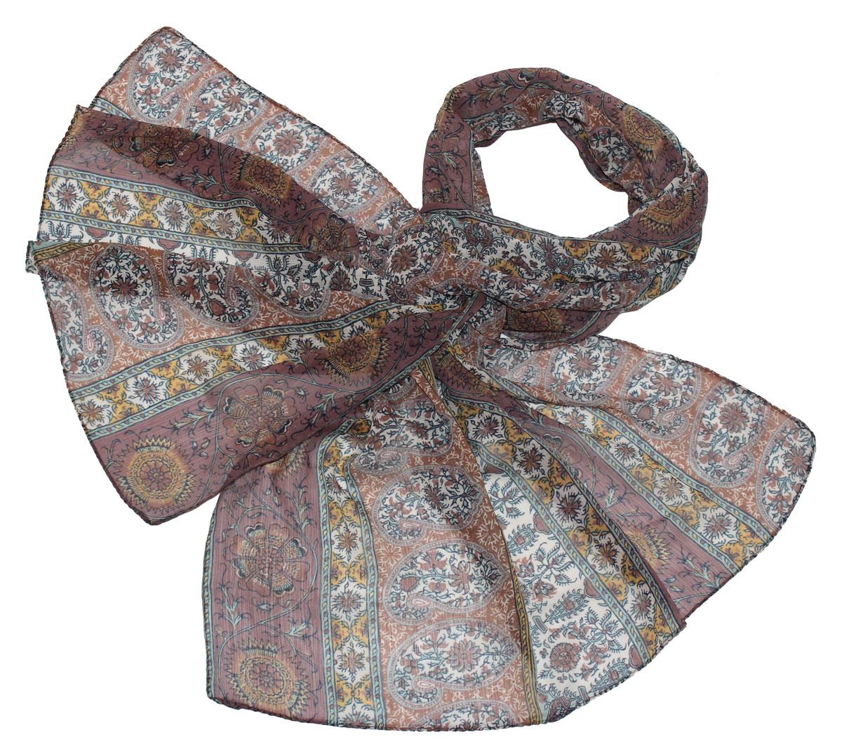 Шарф женский Ethnica, цвет: коричневый, горчичный. 262040. Размер 50 см х 170 см262040Стильный шарф привлекательной расцветки изготовлен из 100% вискозы. Он удачно дополнит ваш гардероб и поможет создать новый повседневный образ, добавить в него яркие краски. Отличный вариант для тех, кто стремится к самовыражению и новизне!
