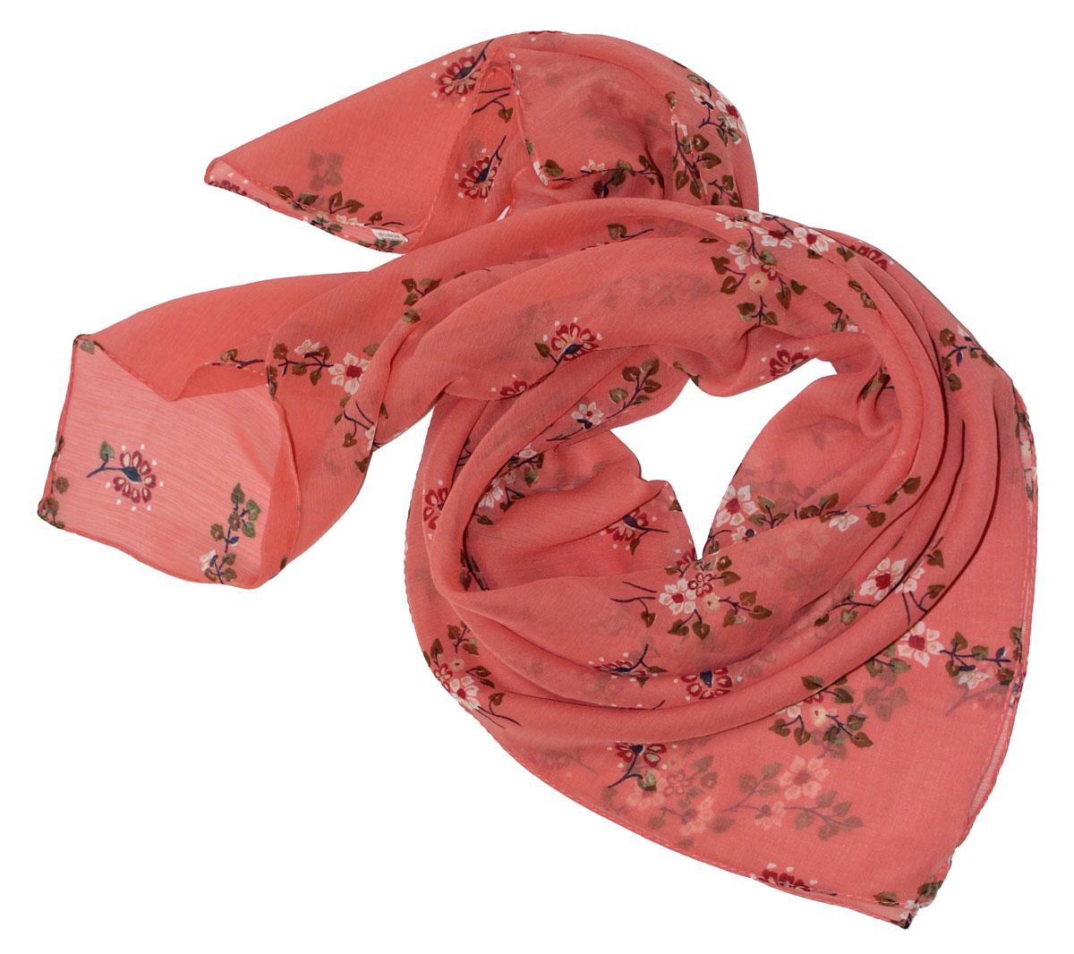 Платок женский Ethnica, цвет: коралловый, зеленый. 524040н. Размер 90 см х 90 см524040нСтильный платок привлекательной расцветки изготовлен из 100% вискозы. Он удачно дополнит ваш гардероб и поможет создать новый повседневный образ, добавить в него яркие краски. Отличный вариант для тех, кто стремится к самовыражению и новизне!
