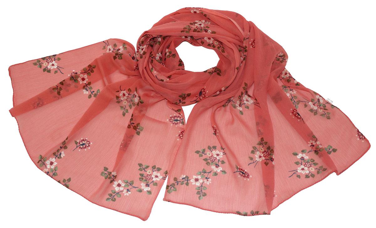 Шарф женский Ethnica, цвет: коралловый. 262040. Размер 50 см х 170 см262040Стильный шарф привлекательной расцветки изготовлен из 100% вискозы. Он удачно дополнит ваш гардероб и поможет создать новый повседневный образ, добавить в него яркие краски. Отличный вариант для тех, кто стремится к самовыражению и новизне!