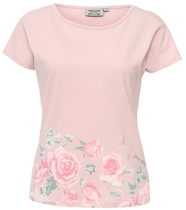 Футболка женская Finn Flare, цвет: бледно-розовый. S17-11091_323. Размер M (46)S17-11091_323Футболка Finn Flare - незаменимая вещь в весенне-летнем гардеробе модницы. Крой изделия не стесняет движений и не вызывает дискомфорта, при этом подчеркивает женственность вашей фигуры. Эту футболку можно носить в качестве самостоятельного элемента одежды или же надеть под летний пиджак. Вещь идеально сочетается практически с любым низом: шорты, брюки, джинсы и даже юбки.