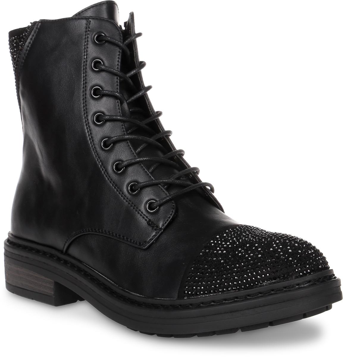 Ботинки женские Avenir, цвет: черный. 2324-HS70579B. Размер 392324-HS70579BОригинальные женские ботинки от Avenir заинтересуют вас своим дизайном. Модель выполнена из искусственной кожи и оформлена на заднике декоративной молнией, и кристаллами. Мыс обуви оформлен кристаллами. Ботинки застегивается на боковую застежку-молнию. Подкладка и стелька, выполненные из натуральной кожи, гарантируют комфорт и уют вашим ногам. Каблук умеренной высоты обеспечит модели устойчивость. Подошва с рифлением защищают изделие от скольжения. Эффектные ботинки подчеркнут ваш стиль и яркую индивидуальность.
