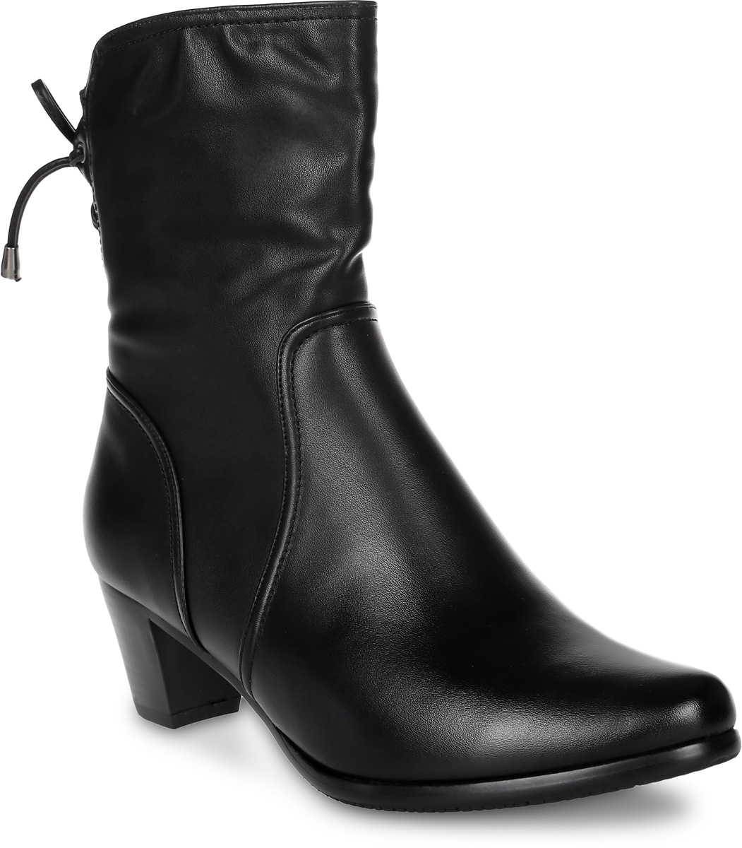 Полусапоги женские Avenir, цвет: черный. 2323-L63268B. Размер 382323-L63268BСтильные полусапоги от Avenir, выполненные из искусственной кожи, придутся вам по душе. Внутренняя поверхность и стелька из байки сохранят тепло, обеспечат комфорт и уют вашим ногам. Задник, оформленный шнуровкой, надежно зафиксирует обувь на ноге. Подошва с рифлением гарантирует длительную носку и сцепление с любой поверхностью. Модные полусапоги отлично подойдут к любому вашему образу.