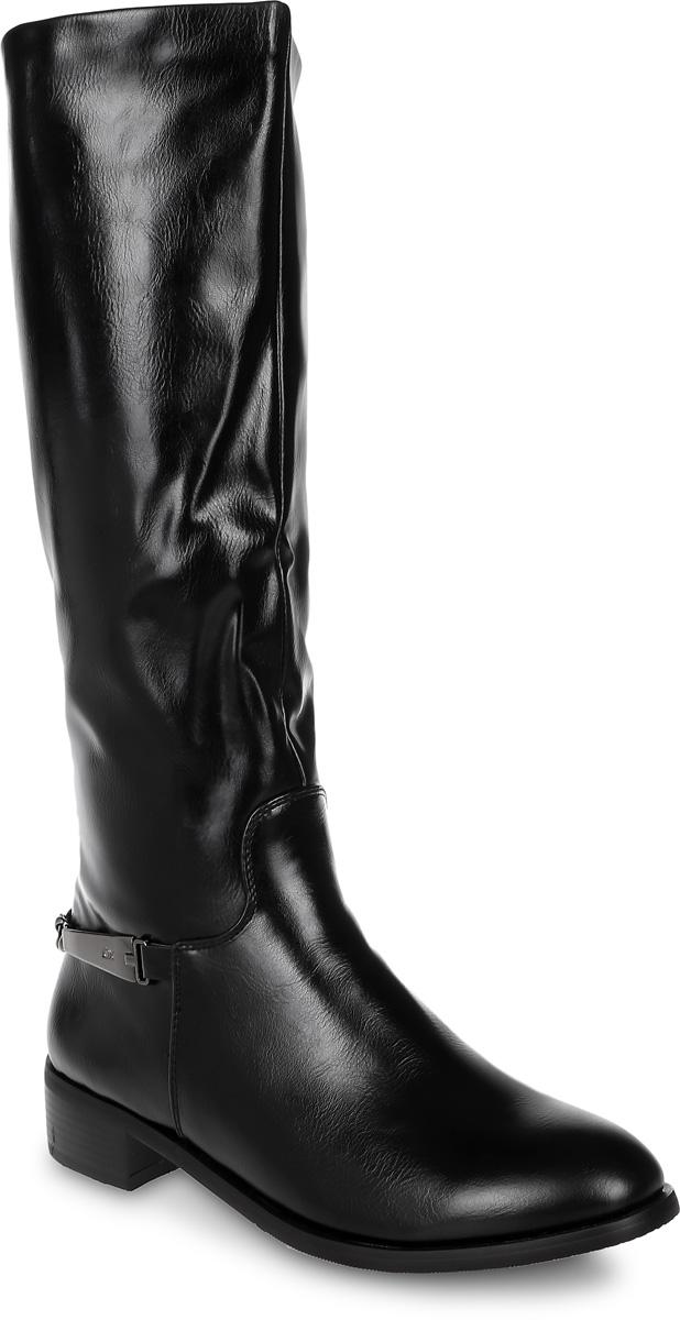 Сапоги женские Avenir Premium, цвет: черный. 2123-MI63227B. Размер 392123-MI63227BШикарные сапоги от Avenir помогут вам создать яркий незабываемый образ! Модель выполнена из искусственной кожи. Сбоку обувь оформлена металлической пряжкой. Сапоги застегиваются на боковую застежку-молнию. Подкладка и стелька, выполненные из байки, комфортны при ходьбе. Толстый невысокий каблук устойчив. Подошва с рифлением защищает изделие от скольжения. Стильные сапоги - основа гардероба каждой женщины.